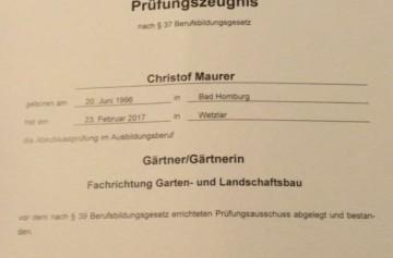 Gesellenbrief C Maurer Peter Spormann